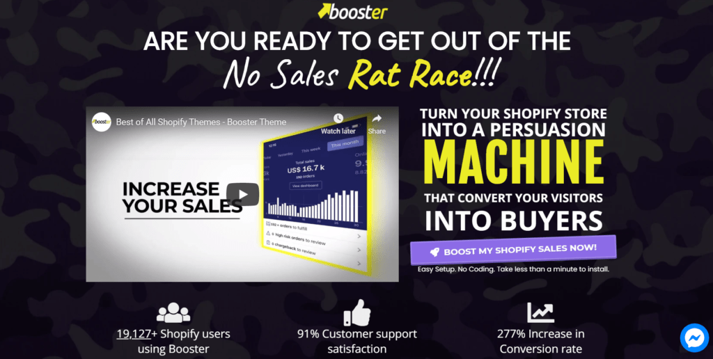 Fastest Shopify Theme Booster's landing page