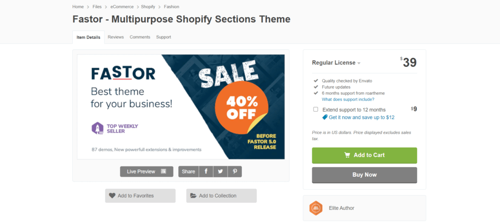 Fastest Shopify theme Fastor's landing page