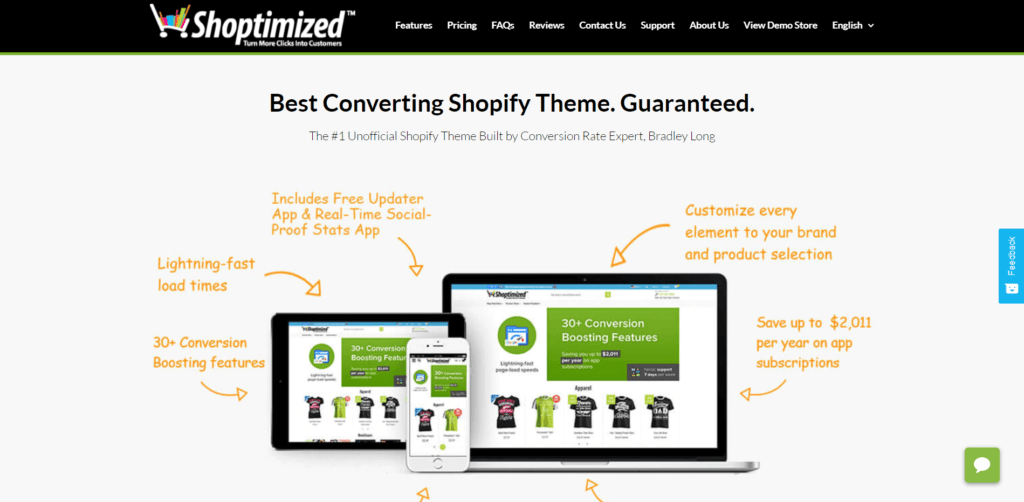 Shoptimized's landing page