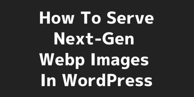 Serve Next-Gen Webp Images In WordPress