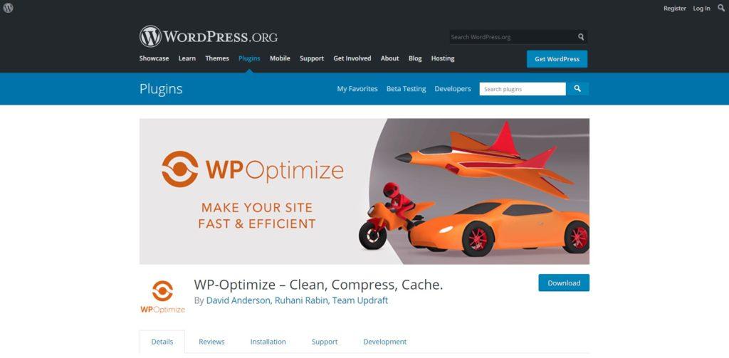 WP Optimize's landing page