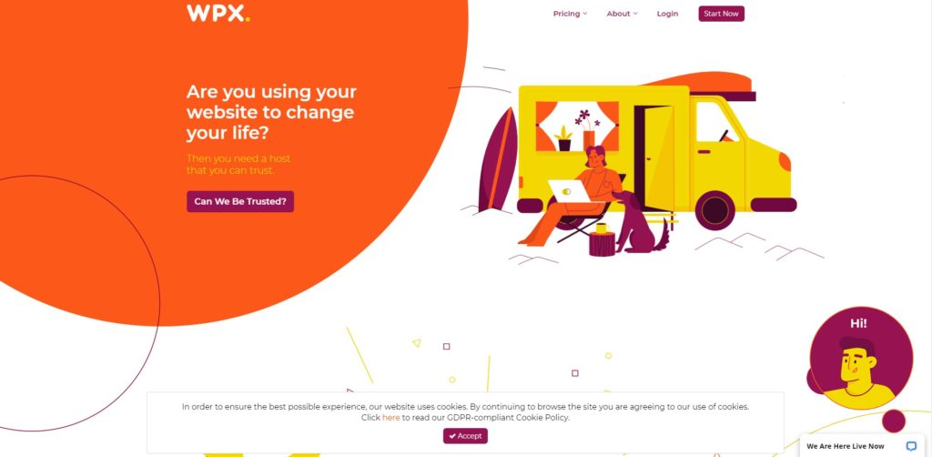 WPX's landing page