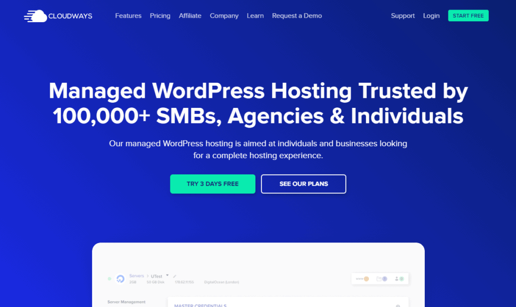 Cloudways' home page