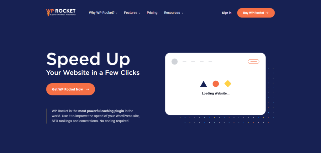 WP Rocket's home page