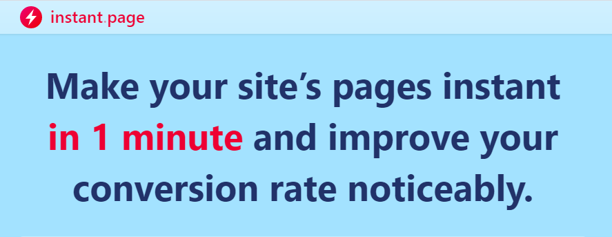Instant Page's landing page