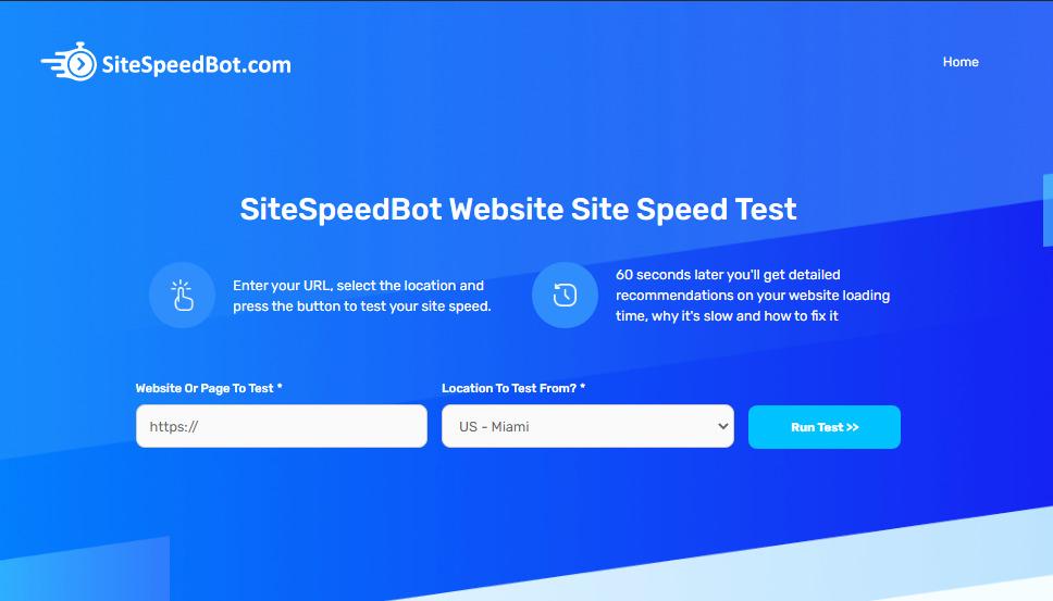 SiteSpeedBot landing page